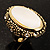Antique Gold Shell Crystal Chunky Ring - view 8