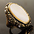 Antique Gold Shell Crystal Chunky Ring - view 3