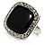 Black Enamel Crystal Square Ring (Silver Tone)