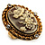 Vintage Floral Crystal Cameo Ring (Burnished Gold) - view 5