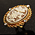 Vintage Floral Crystal Cameo Ring (Burnished Gold) - view 2