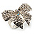 Silver-Tone Clear Crystal Bow Ring