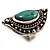 Burn Silver Hammered Turquoise Style Fashion Ring - view 8