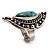 Burn Silver Hammered Turquoise Style Fashion Ring - view 5