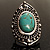 Burn Silver Hammered Turquoise Style Fashion Ring - view 2