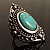 Burn Silver Hammered Turquoise Style Fashion Ring - view 3