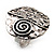 Vintage Style Swirl Hammered Round Ring (Burn Silver)