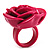 Magenta Chunky Resin Rose Ring - view 4