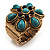 Turquoise Style Flower Stretch Ring (Antique Gold)