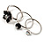 Set Of 3 Floral & Bead Rings (Silver Tone & Black)
