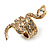 Gold Tone Swarovski Crystal Snake Ring