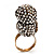 Stunning Vintage Simulated Pearl & Crystal Owl Ring (Antique Gold Tone) - view 4