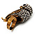 Stunning Vintage Simulated Pearl & Crystal Owl Ring (Antique Gold Tone) - view 5
