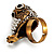 Stunning Vintage Simulated Pearl & Crystal Owl Ring (Antique Gold Tone) - view 9