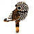 Stunning Vintage Simulated Pearl & Crystal Owl Ring (Antique Gold Tone) - view 10