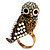 Stunning Vintage Simulated Pearl & Crystal Owl Ring (Antique Gold Tone) - view 3