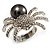 Swarovski Crystal Simulated Pearl Spider Ring (Silver Tone) - view 2
