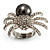 Swarovski Crystal Simulated Pearl Spider Ring (Silver Tone) - view 8