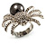 Swarovski Crystal Simulated Pearl Spider Ring (Silver Tone) - view 7