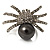 Swarovski Crystal Simulated Pearl Spider Ring (Silver Tone)