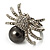 Swarovski Crystal Simulated Pearl Spider Ring (Silver Tone) - view 6