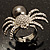 Swarovski Crystal Simulated Pearl Spider Ring (Silver Tone) - view 11