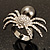 Swarovski Crystal Simulated Pearl Spider Ring (Silver Tone) - view 12