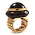 Dome Brown Wood Stretch Ring (Gold Tone) - view 10
