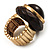Dome Brown Wood Stretch Ring (Gold Tone) - view 11