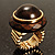 Dome Brown Wood Stretch Ring (Gold Tone) - view 2