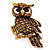 Charming Diamante Antique Gold Owl Stretch Ring
