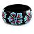 Black Wood Light Blue Floral Band Ring