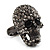 Gun Metal Swarovski Crystal Skull Ring - Size 7