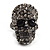 Gun Metal Swarovski Crystal Skull Ring - Size 7 - view 2