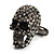 Gun Metal Swarovski Crystal Skull Ring - Size 7 - view 9