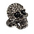 Gun Metal Swarovski Crystal Skull Ring - Size 7 - view 12