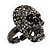 Gun Metal Swarovski Crystal Skull Ring - Size 7 - view 13