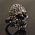 Gun Metal Swarovski Crystal Skull Ring - Size 7 - view 14