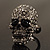 Gun Metal Swarovski Crystal Skull Ring - Size 7 - view 15