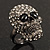 Gun Metal Swarovski Crystal Skull Ring - Size 7 - view 3