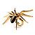 Gold Black Enamel Swarovski Crystal Spider Cocktail Ring - Size 7 - view 24