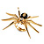 Gold Black Enamel Swarovski Crystal Spider Cocktail Ring - Size 7 - view 3