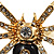 Gold Black Enamel Swarovski Crystal Spider Cocktail Ring - Size 7 - view 9
