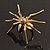 Gold Black Enamel Swarovski Crystal Spider Cocktail Ring - Size 7 - view 14