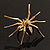 Gold Black Enamel Swarovski Crystal Spider Cocktail Ring - Size 7 - view 16