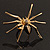 Gold Black Enamel Swarovski Crystal Spider Cocktail Ring - Size 7 - view 4