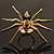 Gold Black Enamel Swarovski Crystal Spider Cocktail Ring - Size 7 - view 20