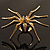 Gold Black Enamel Swarovski Crystal Spider Cocktail Ring - Size 7 - view 6