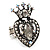 Burn Silver Crystal Crown & Heart Stretch Ring - view 1