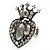 Burn Silver Crystal Crown & Heart Stretch Ring - view 10